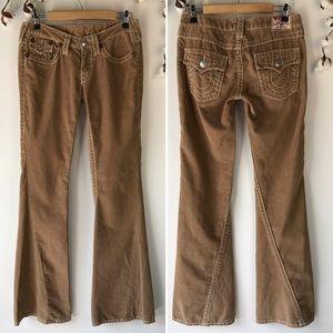 True Religion Tan Corduroy Wide Leg Pants 29